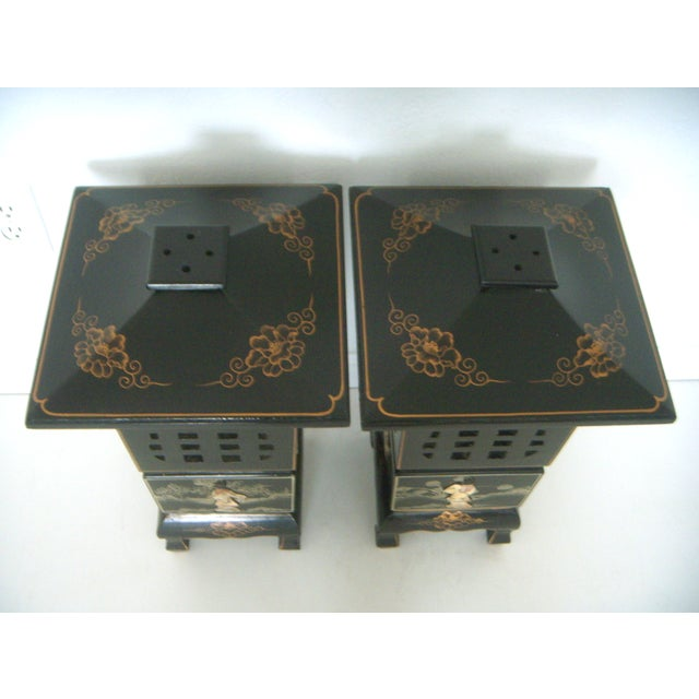 Asian Vintage Lacquered Chinese Lanterns - A Pair For Sale - Image 3 of 9
