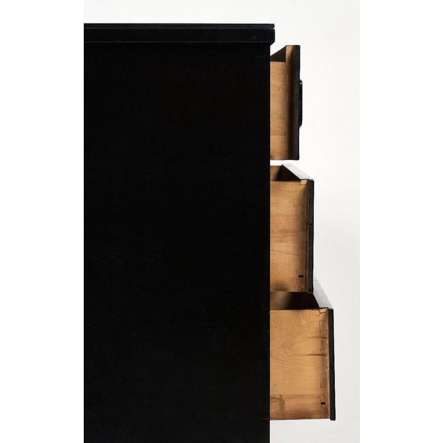 Black Modernist Danish Chest With Mirrored Top For Sale - Image 8 of 10