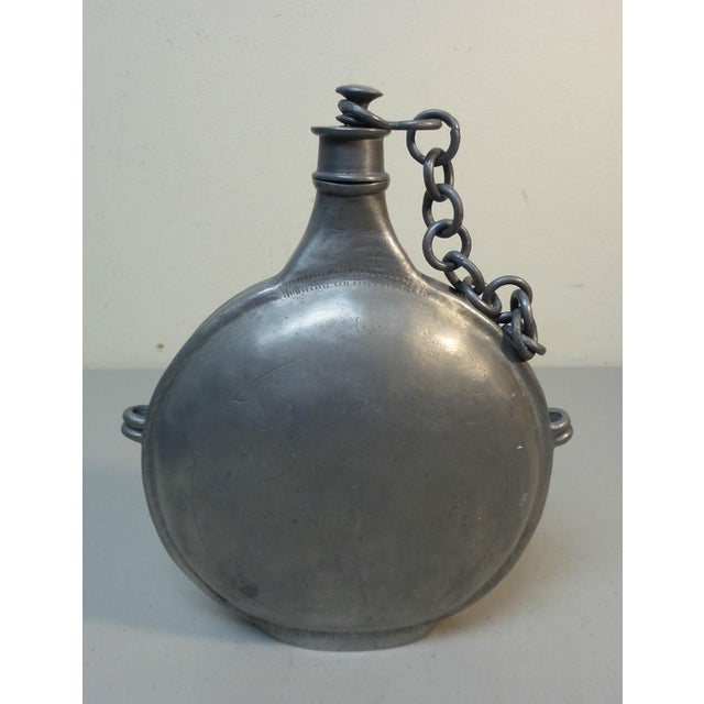 1900 - 1909 Antique Pewter Italian Military Canteen For Sale - Image 5 of 5