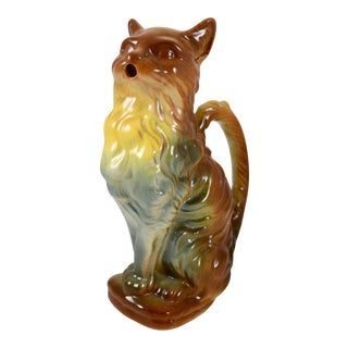 St. Clément French Barbotine Majolica Cat Absinthe Pitcher, 1900-1910 For Sale