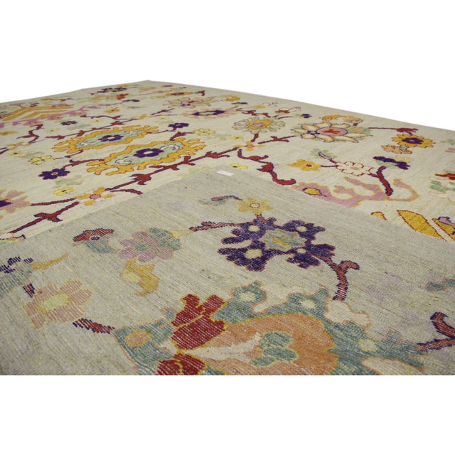 Abstract Colorful Turkish Oushak Rug With Contemporary Hollywood Glamour Style, 10'04 X 15'08 For Sale - Image 3 of 6
