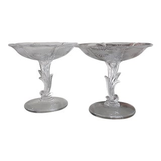 Mid-Century Palm Beach Regency Art Deco Glass Epergnes - a Pair For Sale