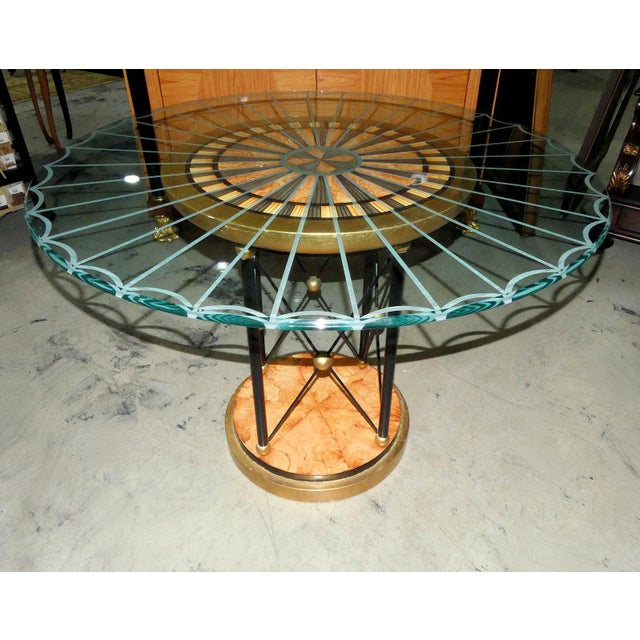 Wood Art Deco Glass Top Center Table, Accent Table, or Dining Table For Sale - Image 7 of 7