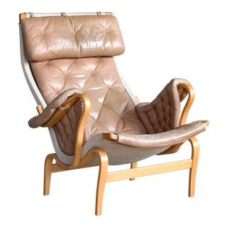 Pernilla Lounge Chair in Camel Colored Tufted Leather by Bruno Mathsson for Dux For Sale