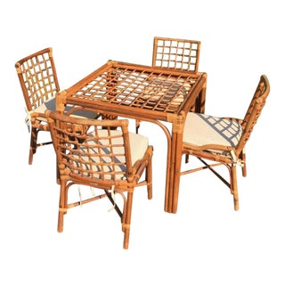 Vintage Woven Rattan Game Table and Chairs-Set of 5 For Sale