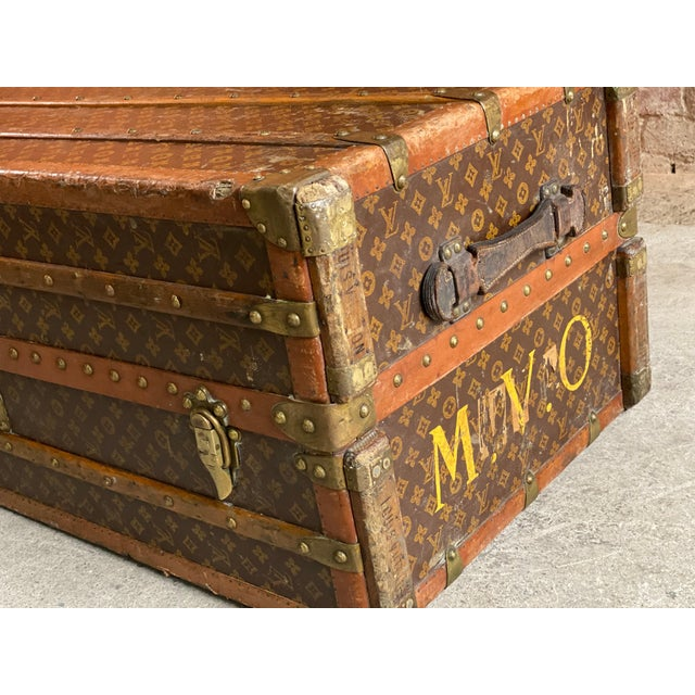Victorian Louis Vuitton Steamer Trunk Wardrobe Trunk Chest France, circa 1920 For Sale - Image 3 of 13