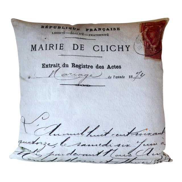 Paris Photo Pillow French Marriage Document Dated 1874 For Sale