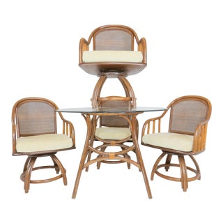 1950s Ficks Reed Chippendale Bamboo and Rattan Table and Chairs Dining Set - 5 Pieces For Sale