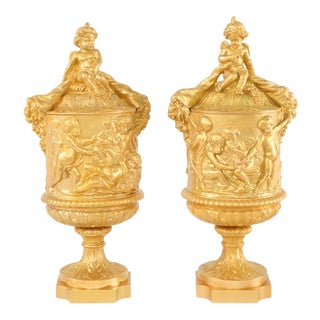 19th Century Gilt Bronze Mounted Covered Urns - a Pair For Sale