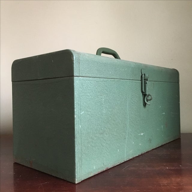 Incredible, heavy duty vintage green tool box. Kennedy tool boxes are known for their craftsmanship and this one is no...