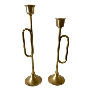 1970s Mid-Century Modern Brass Trumpet Candle Holders - a Pair For Sale