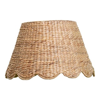 Maison Maison Medium Scalloped Lampshade in Water Hyacinth For Sale