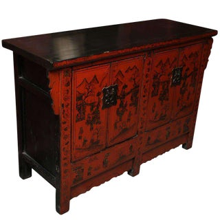 Chinese 19th Century Red Lacquered Sideboard With Gold Chinoiserie Patterns For Sale