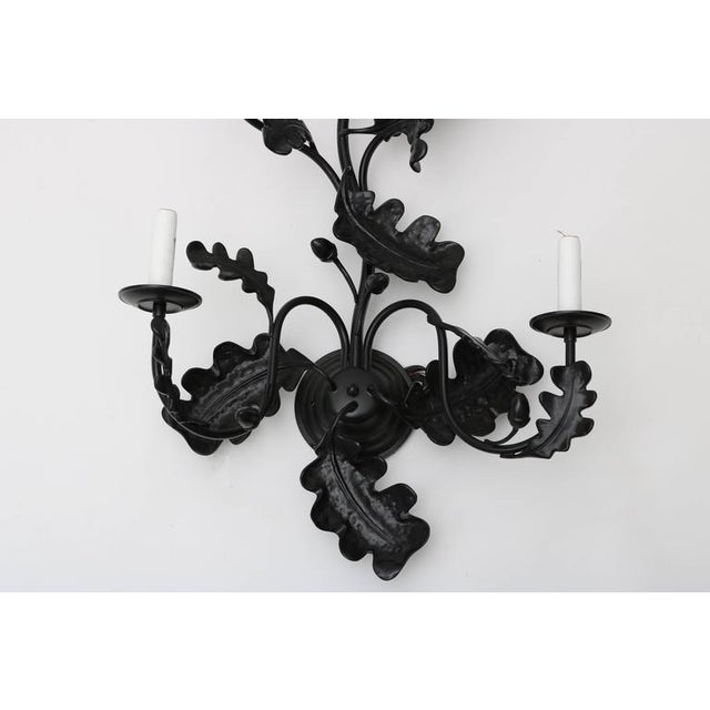 Pair of Five-Light Wall Sconces in Black with Acorn Leaf Motif - Image 7 of 9