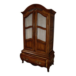 1970s French Country Carved Two Door Bombe' Armoire For Sale