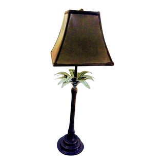 Vintage Cast Iron Palm Tree Table Lamp With Black Shade For Sale