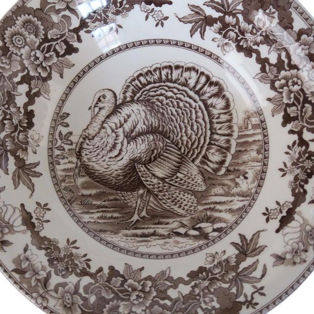 English Traditional Spode Celebration Brown Turkey Thanksgiving Dinner Salad Soup Bowl Set of 2 For Sale - Image 3 of 6