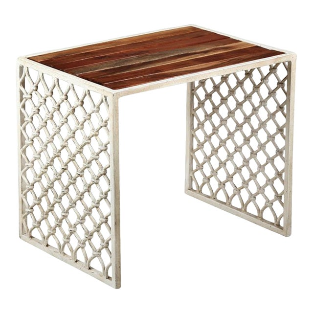 Solid Acacia Wood & White Powder Coated Cast Iron Outdoor Side Tables, Set of Two For Sale