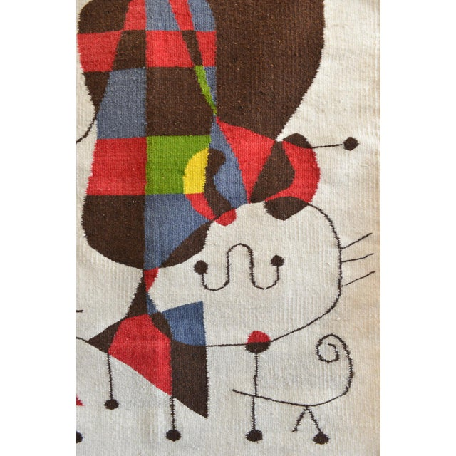 1970s 1965 Miro Style 'Upside Down Figures' Tapestry For Sale - Image 5 of 9