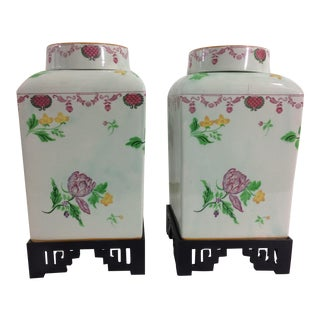Adams Pottery Jars wit Chinese Floral Design and Wooden Stand - A Pair For Sale