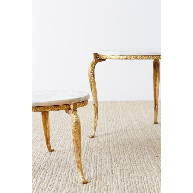Nest of Italian Doré Bronze and Marble Drink Tables For Sale - Image 12 of 13