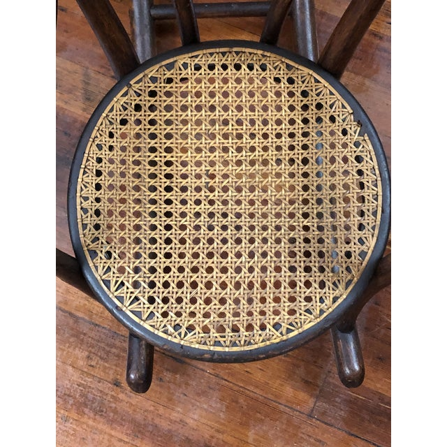 Wood Late 20th Century Vintage Thonet Bentwood Childs Cane Set Rocker For Sale - Image 7 of 13