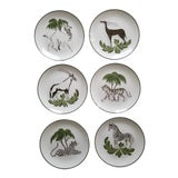 Image of Vintage Mottahedeh Exotic Animals Stately Homes of England Sir Humphrey Wakefield Dessert Plates- Set of 6 For Sale