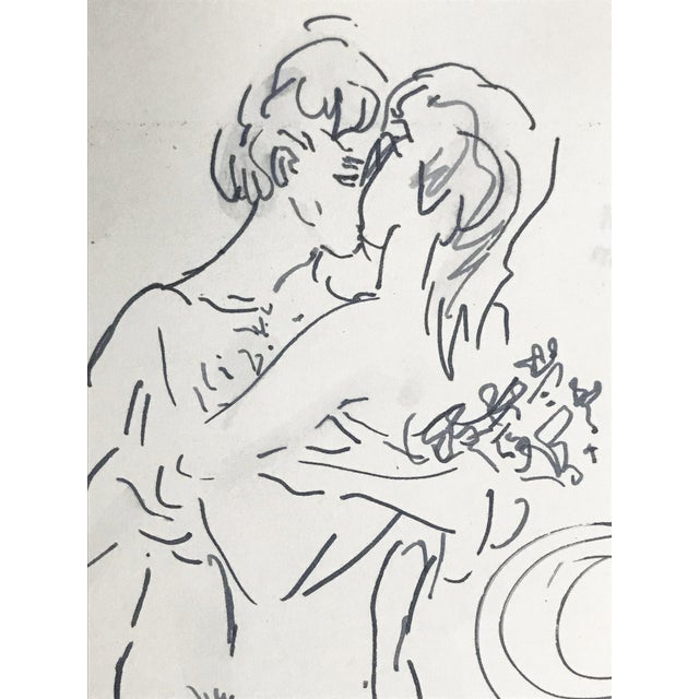 Late 20th Century Abstract Figurative Nude Drawing of Couple by Richard Ericson For Sale - Image 5 of 6