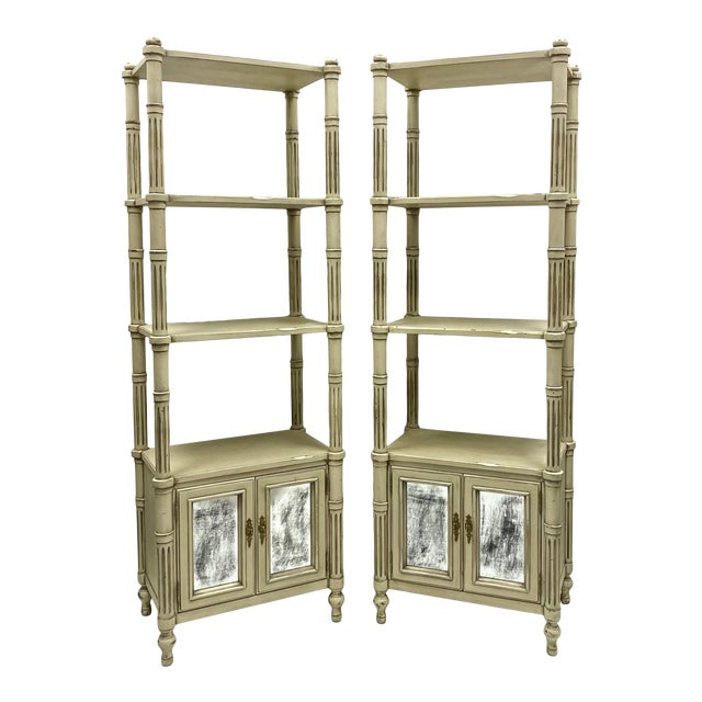 Late 20th-C. Gustavian or Swedish Style Etageres / Bookshelves - Pair For Sale