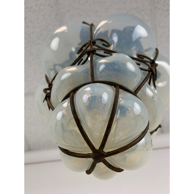 Metal Smoked Glass Single Light Flush Mount Fixture For Sale - Image 7 of 9