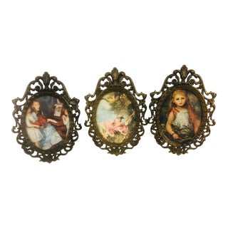 Antique Italian Rococo Style Framed Miniatures - Set of 3 For Sale