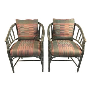 1960s Hollywood Regency Faux Bamboo Arm Chairs - a Pair For Sale