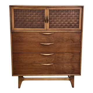 Mid Century Modern Lane Perception Highboy Dresser Wardrobe Chifforobe Chest of Drawers - Danish Style Walnut Woven Door Bedroom Set For Sale