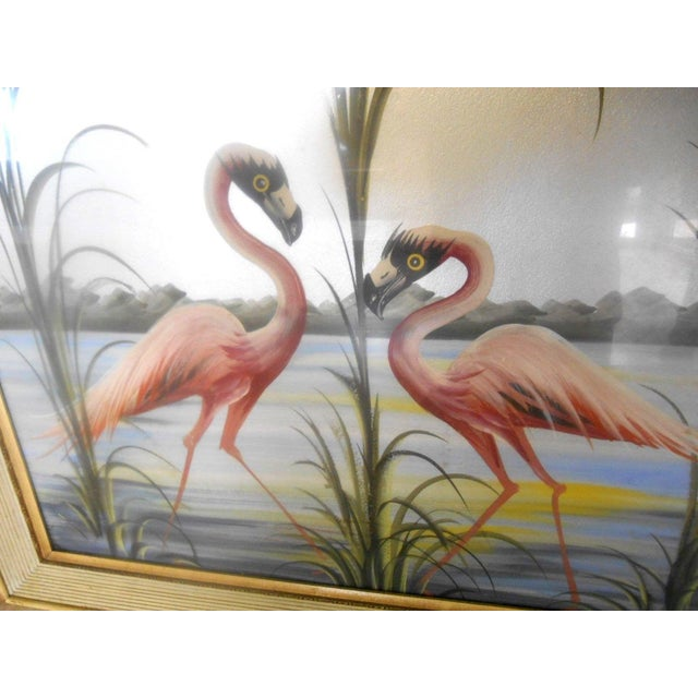 Art Deco Vintage Retro Pink Flamingos Hand Painted Wall Art, 1950s For Sale - Image 3 of 7