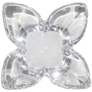 Scandinavian Crystal Lotus Bowl by Designer Lars Hellsten For Sale