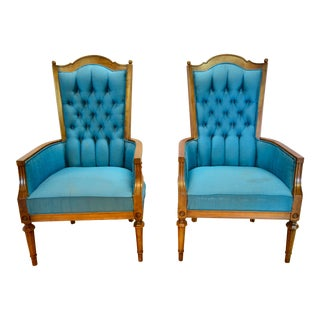 1960's Vintage High Back Chairs- A Pair For Sale