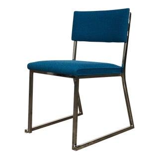 Kool Blue / Chrome Frame Mid-Century Modern Desk - Side Chair For Sale