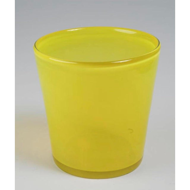 Art Glass Ice Bucket in Citron For Sale - Image 11 of 11