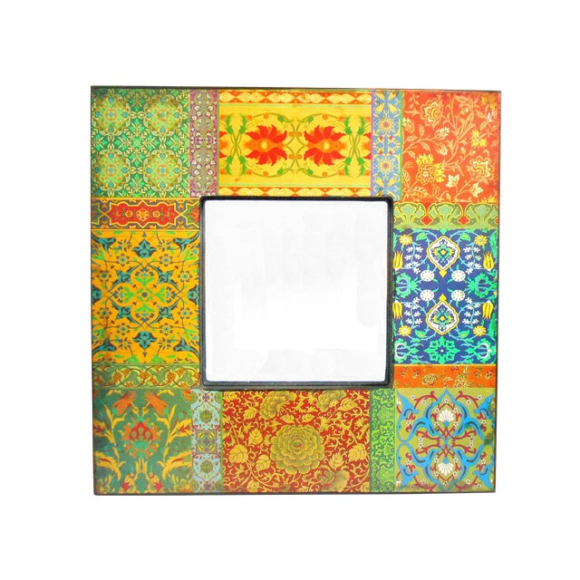 Boho Patchwork Wall Mirror For Sale