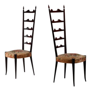 Paolo Buffa pair of mahogany Chiavari chairs, Italy, 1950s For Sale