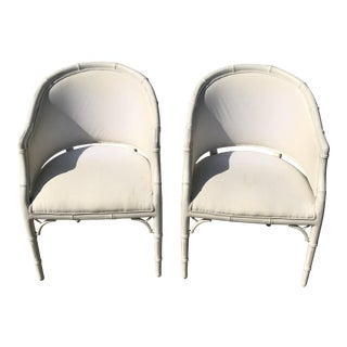 1970s Vintage Faux Bamboo Upholstered Chairs - a Pair For Sale