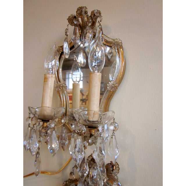 1920s French Louis XV Style Gilt Mirror and Glass Framed Sconces - a Pair For Sale - Image 11 of 13