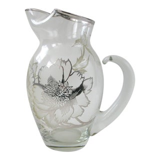 Dorothy Thorpe Sterling Silver Overlay Floral Pitcher For Sale
