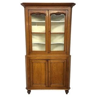 19th Century Traditional Welsh Oak Corner Cupboard For Sale