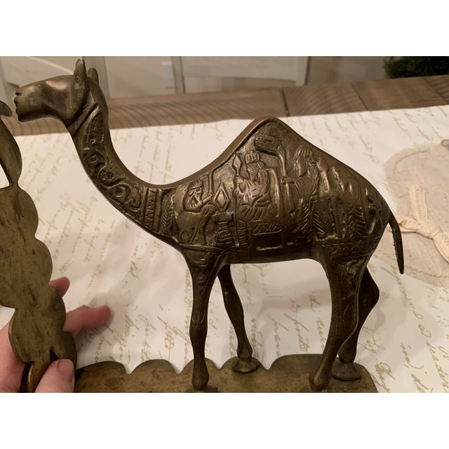 Traditional Vintage Mid-Century Egyptian-Style Solid Brass Camel Bookends- a Pair For Sale - Image 3 of 13