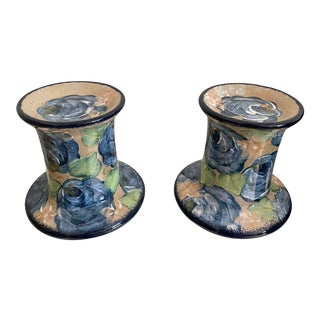 Vintage Handcrafted & Hand-Painted Ceramic Candle Holders For Sale