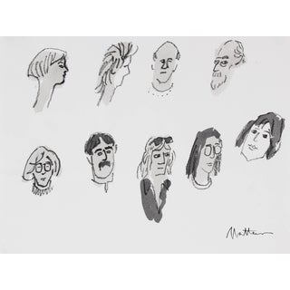 Rip Matteson Monochromatic Portrait Studies of Various People in Ink & Charcoal, 20th Century 20th Century For Sale