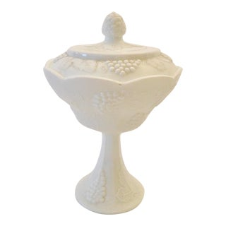 Vintage 1920s Depression Era Indiana Co. White Dish on Pedestal With Lid For Sale