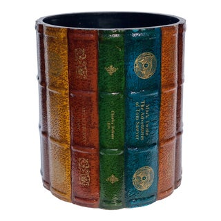 Vintage Round Books Office Library Wastebasket For Sale