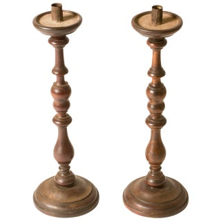 Collection of Walnut Candlesticks From 1860s France - a Pair For Sale